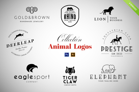 8 Animal Logos Set Cool Bonuses