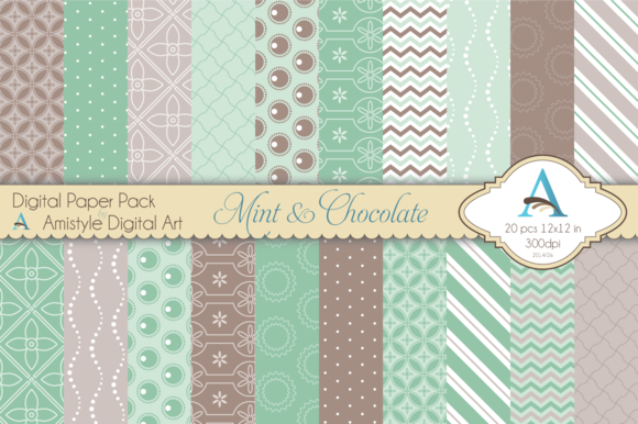 Mint Chocolate Digital Paper Set