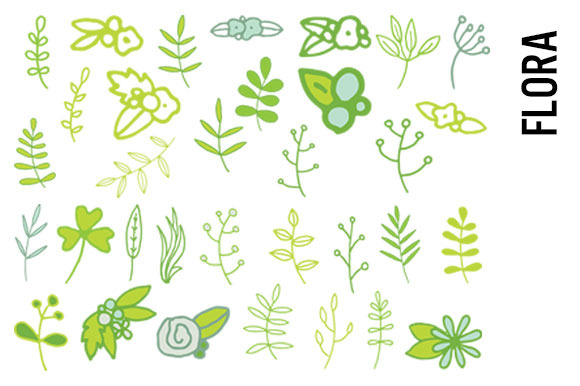 Flora Clipart Leaves And Flowers