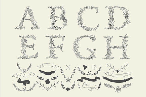 Vintage Alphabet Decor Elements