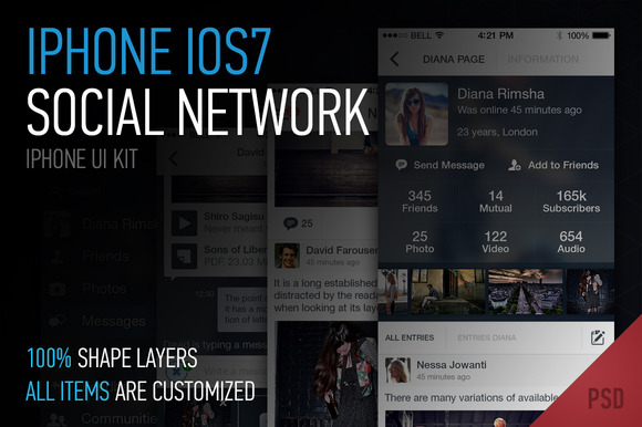 Iphone IOS7 Social Network