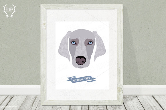 Weimaraner Dog Breeds Print Pet Art