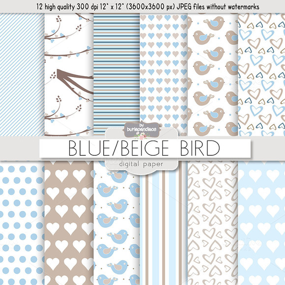 Blue Beige Birds Digital Papers