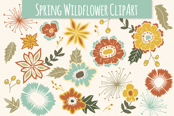 Spring Wildflower Elements Vector
