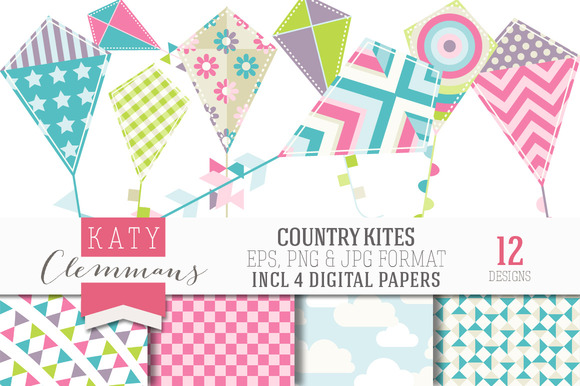 COUNTRY KITES Clip Art Papers