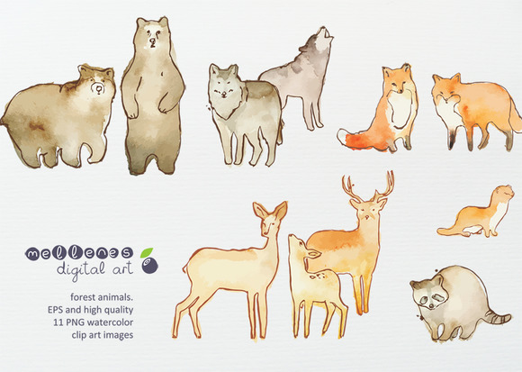 Watercolor Vector Animals