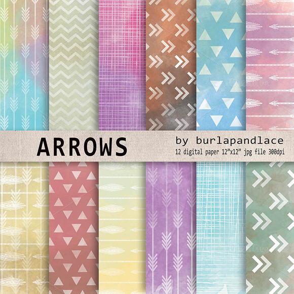 Watercolor Arrows Digital Paper
