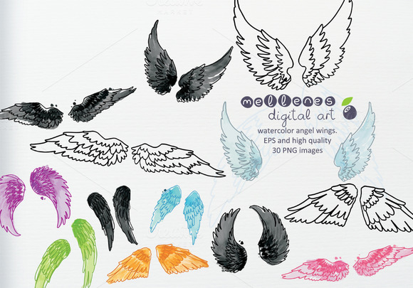 Watercolor Vector Angel Wings