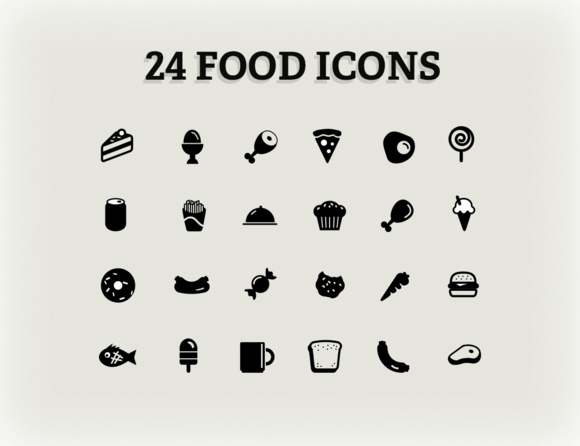 24 Food Icons Ai Eps Files