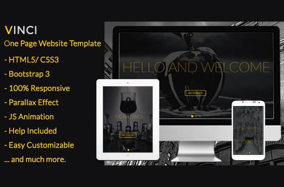 Vinci Responsive Parallax One Page
