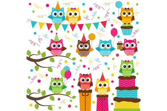Digital Owl Party Clip Art
