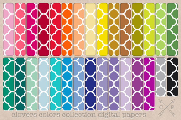 Clovers Digital Papers Backgrounds