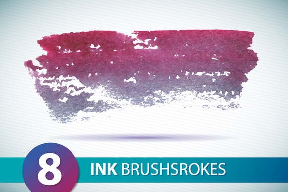 8 Watercolor Brush Strokes