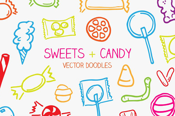 Vector Sweets Candy Doodles