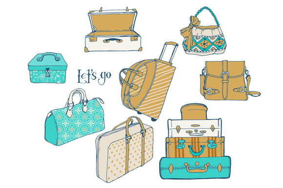 Set Of Bags And Suitcases For Travel