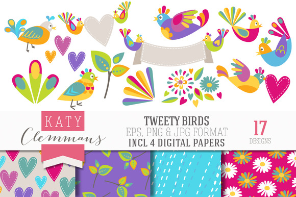 TWEETY BIRDS Clip Art Papers
