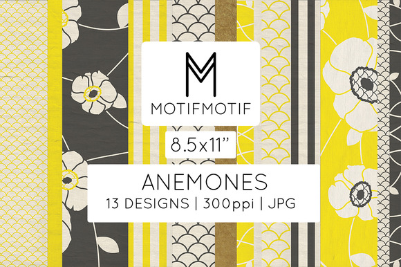 Anemones In Black Yellow US Letter