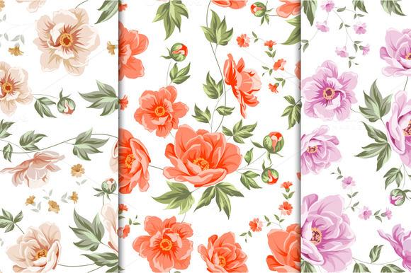 12 Best Vintage Floral Patterns Set