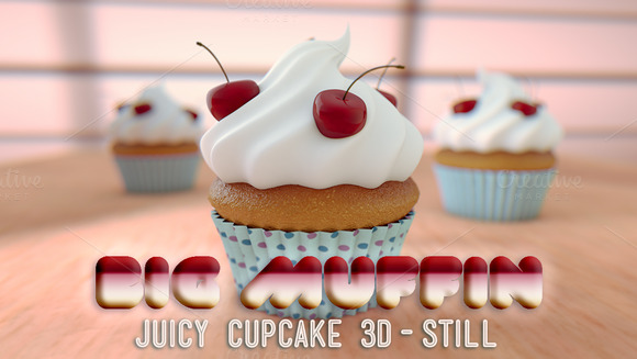 Big Yummy Muffin Cupcake 3D Render