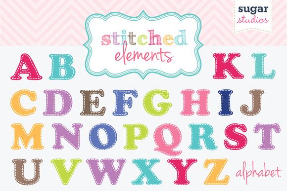 Alphabet Stitched Clipart Set