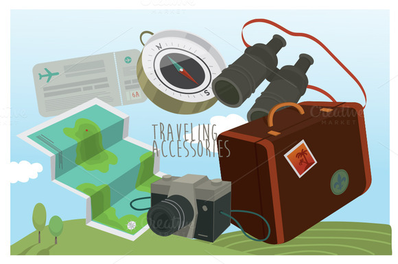 Traveling Accessories Vector Set