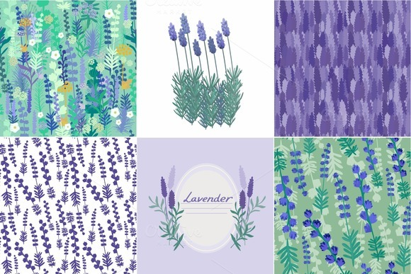 Lavender Set Patterns Flowers