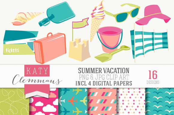 Summer Vacation Clip Art Papers