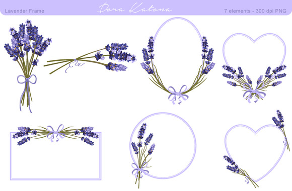 Lavender Flower Frame And Clipart