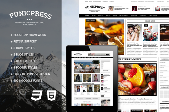 PunicPress Magazine HTML5 Template