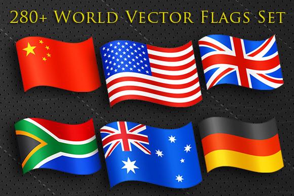 Huge 280 Vector World Flags Set