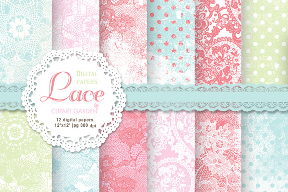12 Romantic Lace Patterned Papers