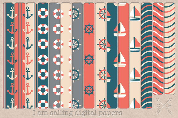 Nautical Digital Papers Backgrounds