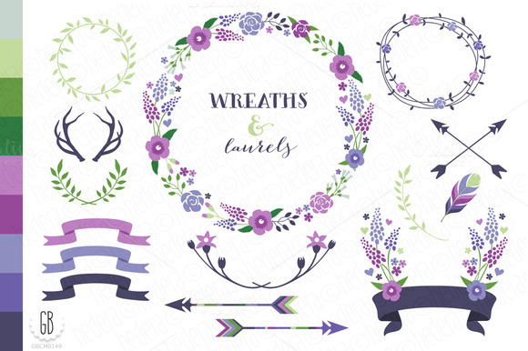 Flower Wreaths Invitation Col21