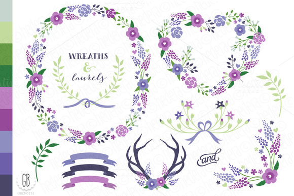 Floral Wreaths Paper Cards Col21