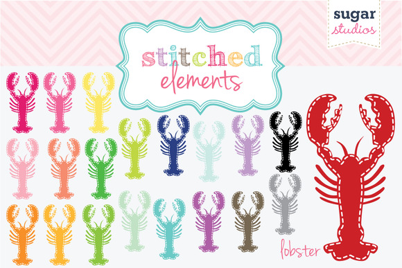 Lobster Stitched Clipart Set