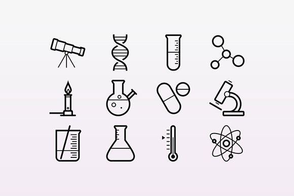 15 Outlined Science Icons