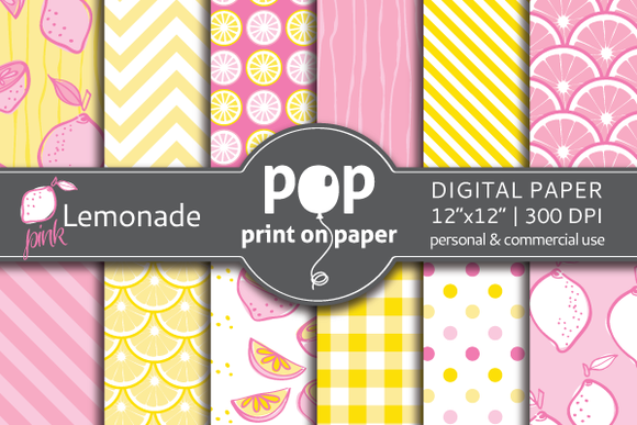 Pink Lemonade Digital Paper JPG