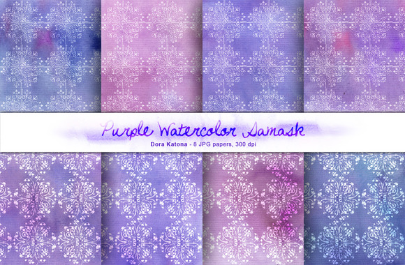Purple Watercolor Damask Set