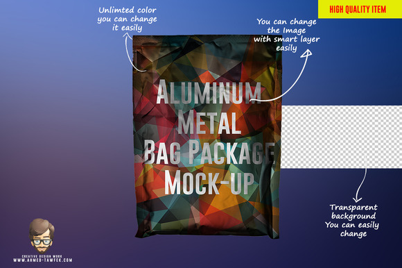 Aluminum Metal Bag Package Mock-up