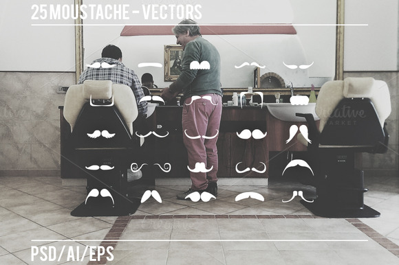 25 Moustache Vectors