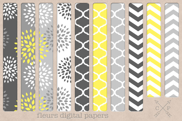 Fleurs Digital Papers Backgrounds
