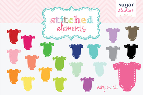 Baby Onesie Stitched Clipart Set