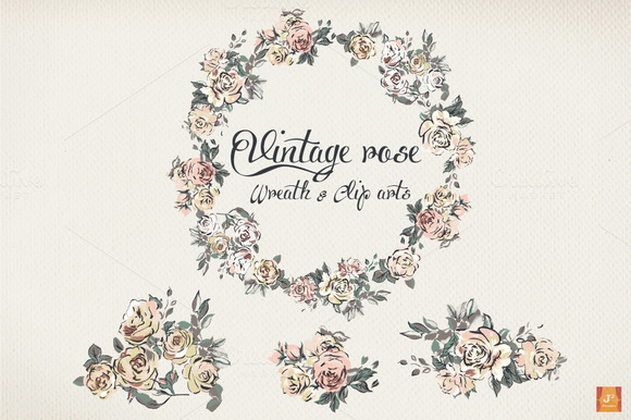 Vintage Rose Wreath Clip Arts