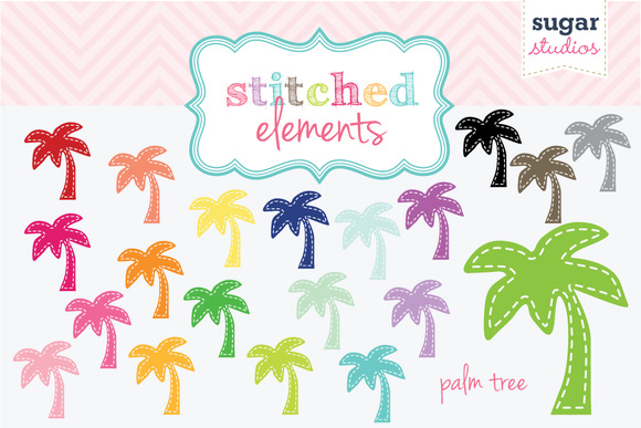 Palm Tree Stitched Clipart Set