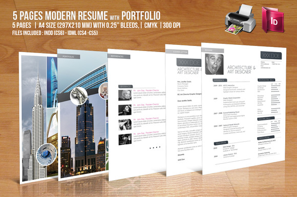5 Pages Modern Resume With Portfolio