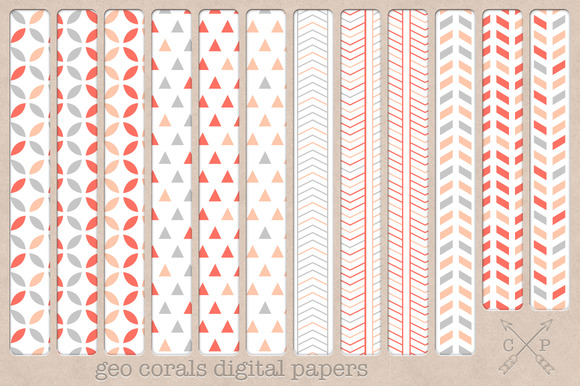 Geometric Digital Papers Backgrounds