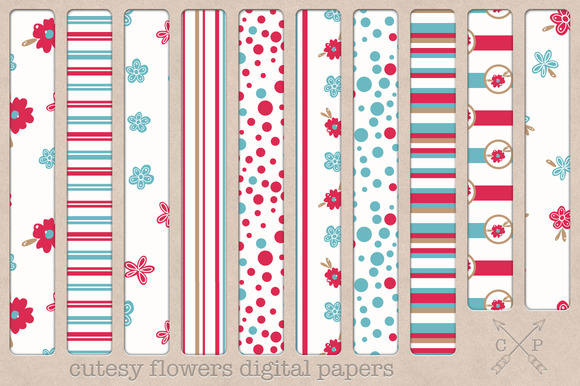 Flowers Digital Papers Backgrounds
