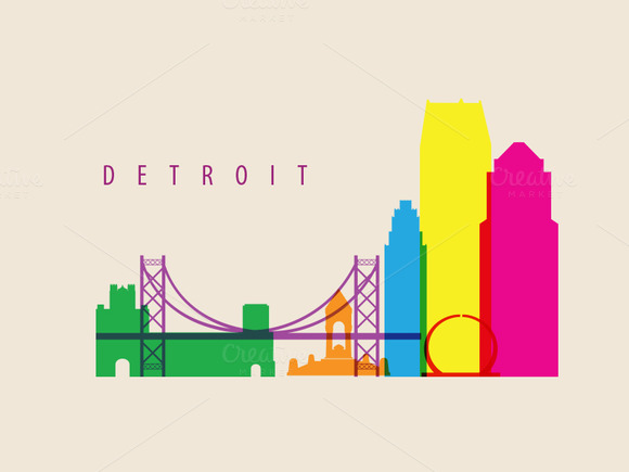 Detroit City Landmarks Illustration