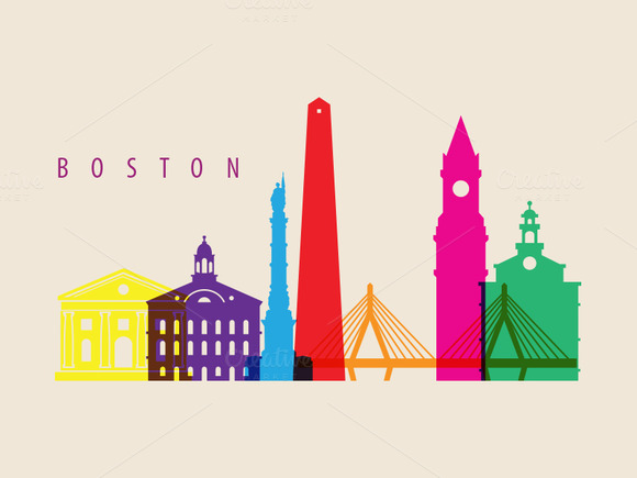 Boston City Landmarks Illustration