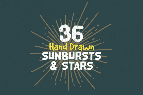 36 Hand Drawn Sunbursts Stars